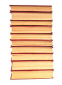 Stack of old books with yellowed pages on white background — Foto Stock
