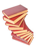 Stack of old books with yellowed pages on white background — Foto de Stock