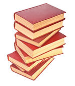 Stack of old books with yellowed pages on white background — Stock Photo
