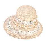 летняя женская шляпка на белом фоне — Стоковое фото