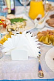 Paper napkins on decorated table — Stockfoto