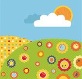 Prado colorida primavera abstracta con flores, ilustración — Foto de Stock