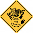 Stock Photo: Save power yellow sign