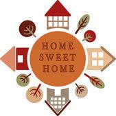 Círculo con diferentes casas y árboles, hogar, dulce hogar — Foto de Stock