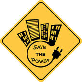 Save the power yellow sign — Foto Stock