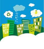 Eco green city skyline — Stock Photo