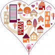 Heart pattern with different houses and trees - Stock Photo