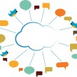 Communication cloud with speech bubbles - Stock Photo