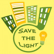 Save the light yellow sign - Stock Photo