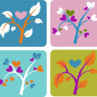 Set of love trees — Stock Photo