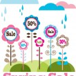 Sping sale, flower meadow with rainy clouds — Stock Photo