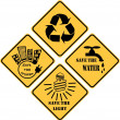 Recycling and ecological set of yellow signs — Stock Photo #24786875