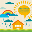 Spring time illustration with sun and raining clouds — Stock Photo