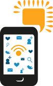 Telefono cellulare con icone comunication — Foto Stock
