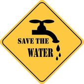 Save the water yellow sign — Stock Photo