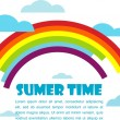 Summer time vector with rainbow and clouds — Stock Vector
