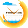 Summer time, yellow clock with place for your text — Stock Vector
