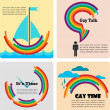 Four gay icons, infographics — Stock Vector