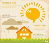 Retro Infographic köy evi ve bulutlar — Stok Vektör