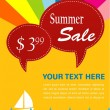 Summer sale; yacht and sea with pice tags — Stockvector