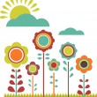 Spring sale; flower field — Stock Vector