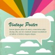 Vintage poster with rainbow and clouds — Stock Vector