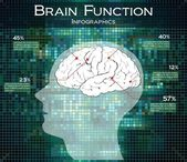 Human brain function on technology background, infographics — Stock Vector