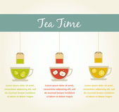 Tea time. fruit tea infographics — Stock Vector