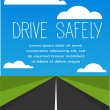 Stock Vector: Drive safe, long empty road