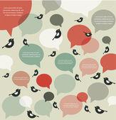 Retro backgroung of bird communication , infographics — Stock Vector