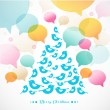 Abstract vector Christmas tree  of birds — Stockvectorbeeld
