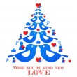 Wishes for christmas; blue bird tree with social media icons — Stock Vector #31407667