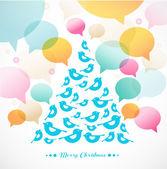 Abstract vector Christmas tree of birds — Stock Vector