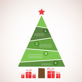Christmas infographic tree with decoration and presents — Stock Photo