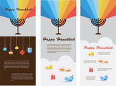 Set of three cards with hanukkah infographics — Stock Vector