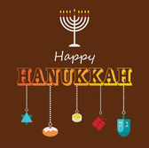 Happy Hanukkah greeting card design. — Stock Vector