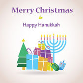 Happy Hanukkah and merry christmas — Stock Vector