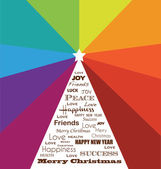 Merry Christmas colorful Greeting Card with holiday wishes — Wektor stockowy