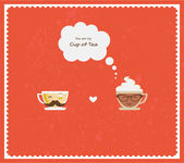 Hypster coffee and tea cups. Happy Valentines — Stock Photo
