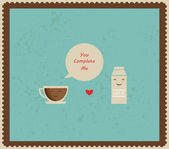 Retro valentines card with coffee and milk — Stock Photo