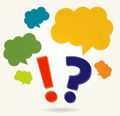 Question and exclamation marks with speech bubbles — Stock Vector