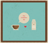 Coffee and milk best friends — Vector de stock