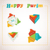 Template of a Purim box for Purim Gift — Stock Vector