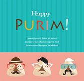 Purim party invitation with hipster Haman Ears — Stock Vector
