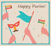 Happy Purim. Party or festival  Invitation design — Stock Vector