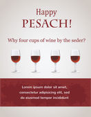 Happy passover - 4 cups of wine for Seder — Vector de stock