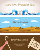 Three Banners of Passover Jewish Holiday — Stock Vector