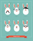 Happy Hipster Easter - set of stylish BUNNY icons — Stock Vector