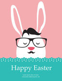 Background and greeting card with hipster Easter rabbit — Vector de stock