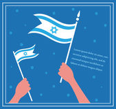 Happy Israeli independence day. hand holding a flag. — Stock Vector